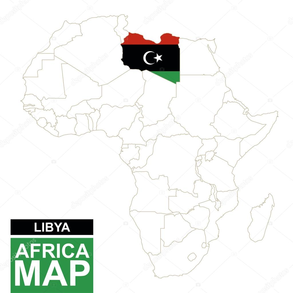 Libya On Africa Map.Africa Contoured Map With Highlighted Libya Stock Vector