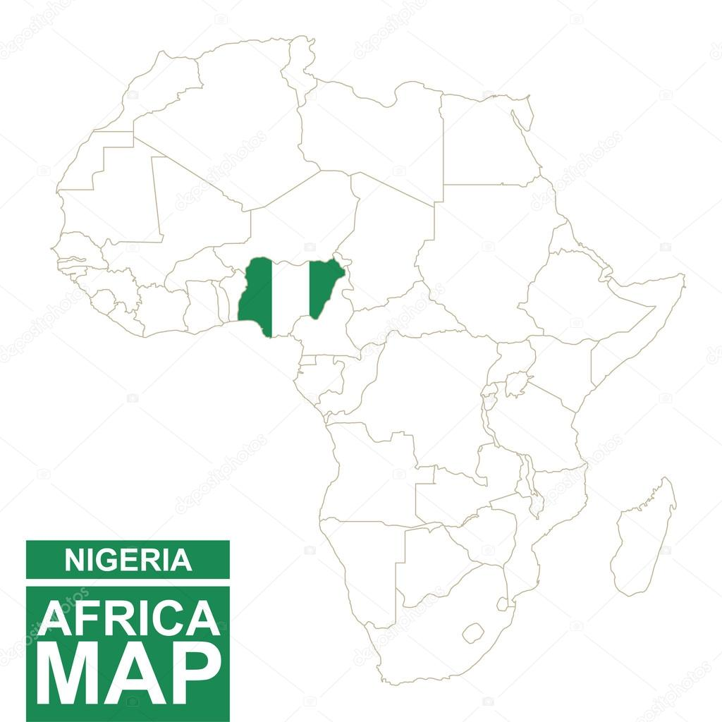 Africa contoured map with highlighted Nigeria. — Stock Vector ...