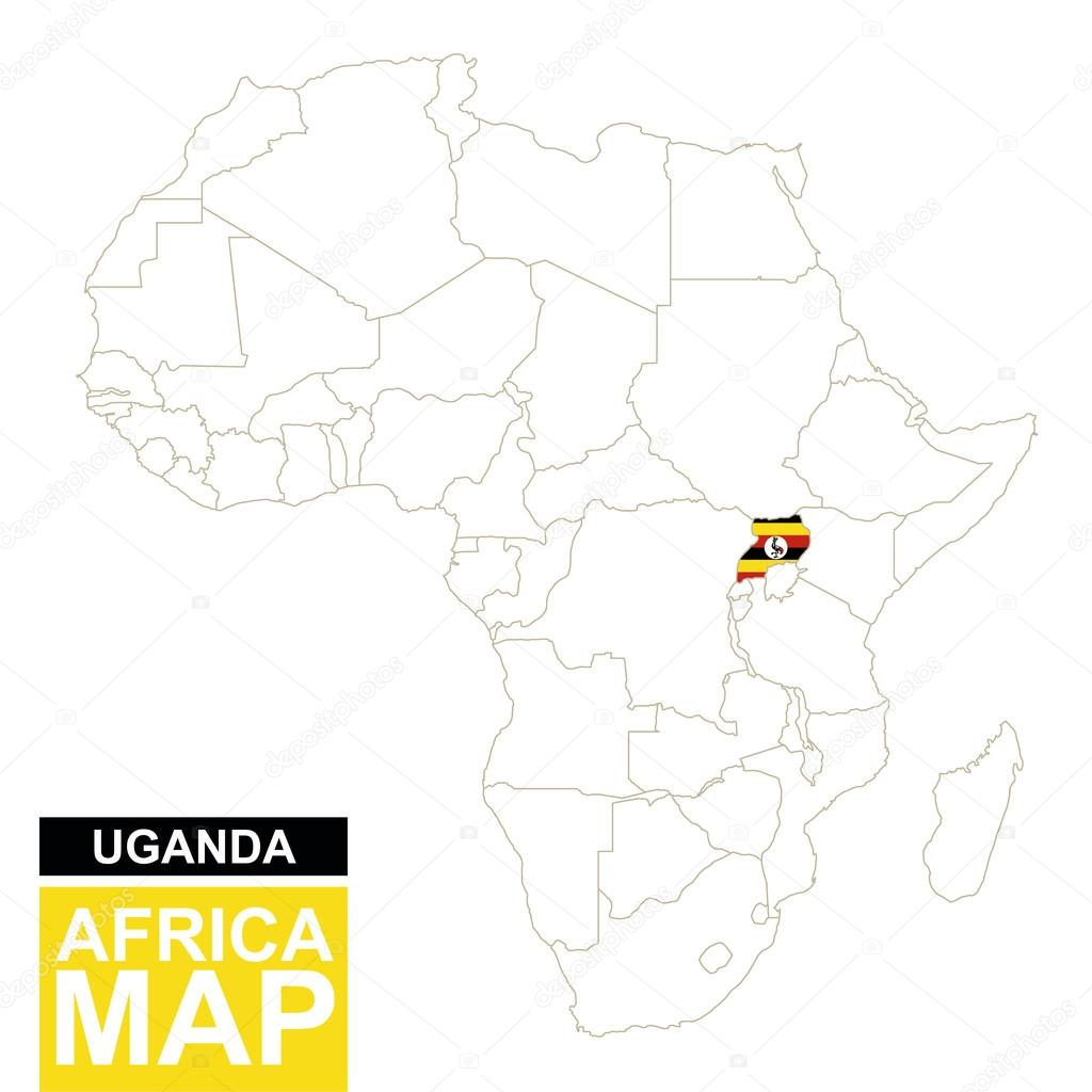 Map Of Africa Uganda Highlighted.Africa Contoured Map With Highlighted Uganda Stock Vector