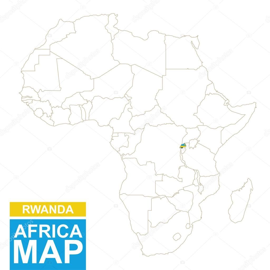 Africa contoured map with highlighted Rwanda. — Stock Vector © boldg ...