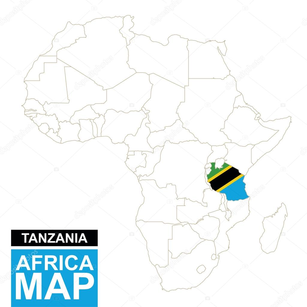 Tanzania On A Map Of Africa.Africa Contoured Map With Highlighted Tanzania Stock Vector