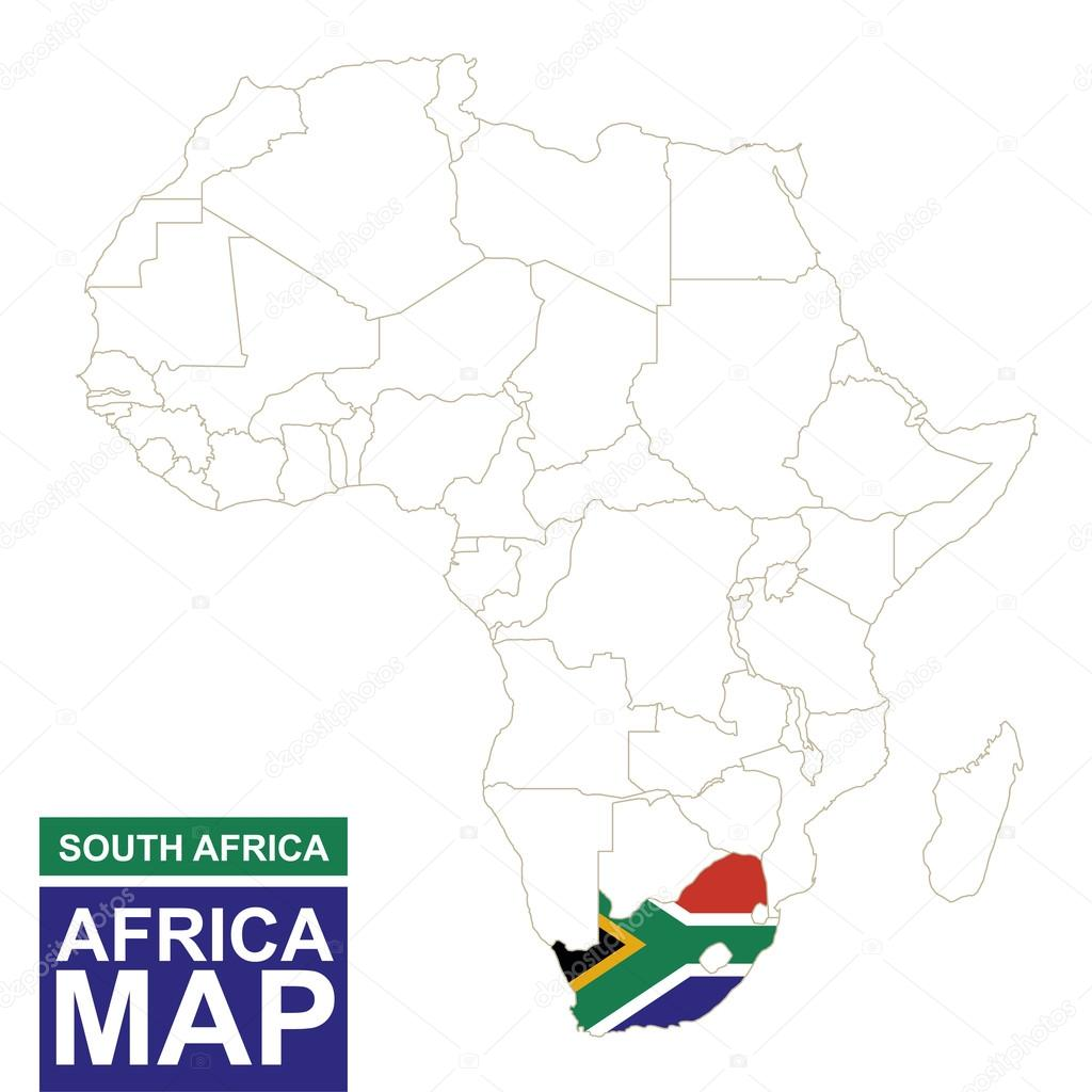 Africa contoured map with highlighted south africa stock vector africa contoured map with highlighted south africa south africa map and flag on africa map vector illustration vector by boldg gumiabroncs Image collections