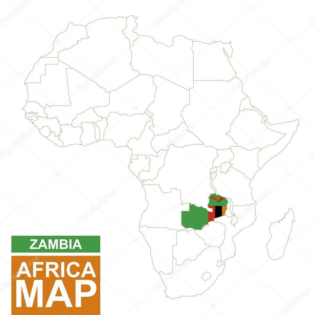 Africa contoured map with highlighted Zambia. — Stock Vector © boldg ...