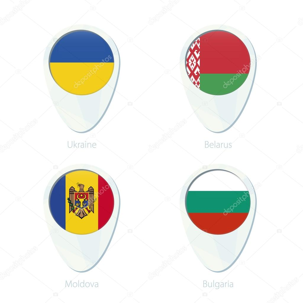 Ukraine Belarus Moldova Bulgaria flag location map pin icon