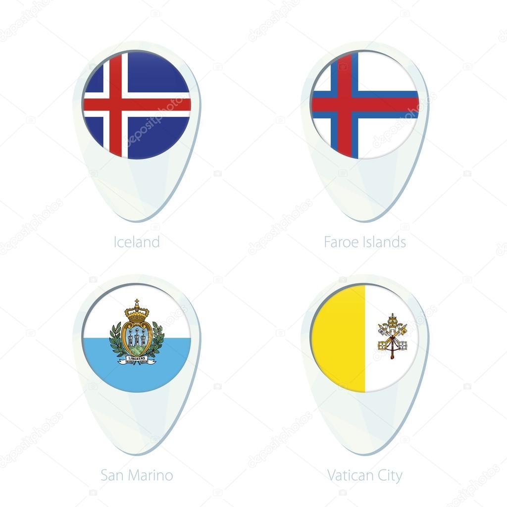 Iceland, Faroe Islands, San Marino, Vatican City flag ...