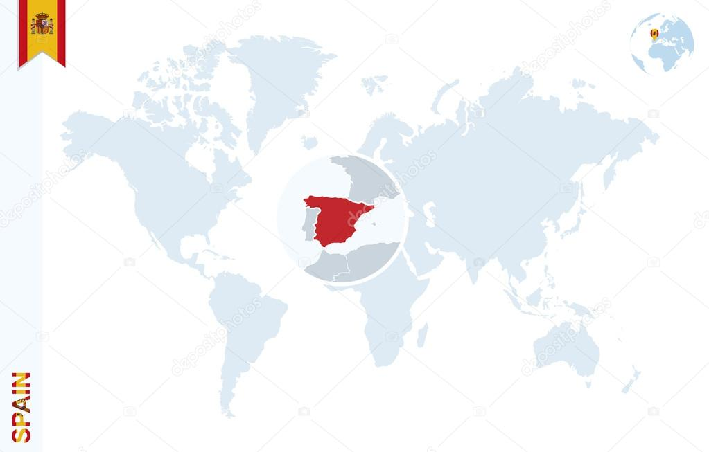 Blue World Map With Magnifying On Spain. U2014 Stock Vector