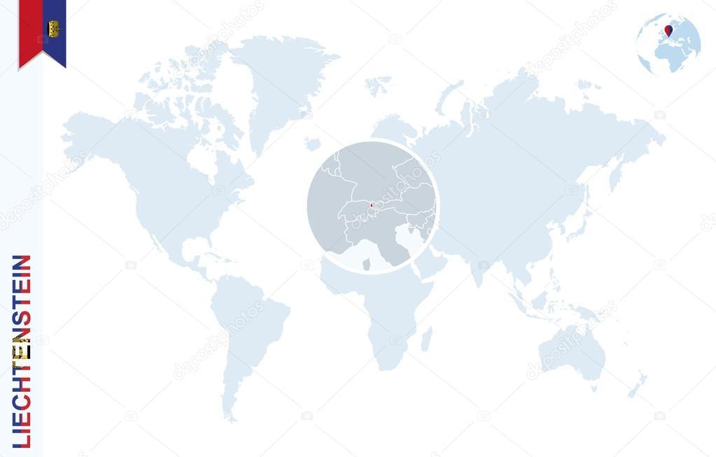 Blue World Map With Magnifying On Liechtenstein Stock Vector
