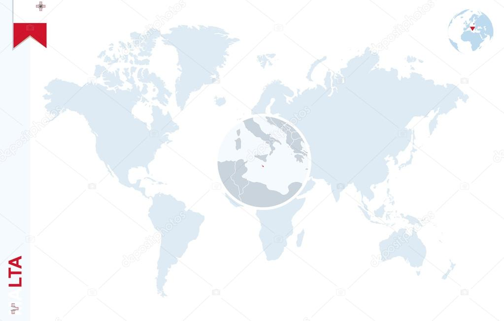 Blue world map with magnifying on Malta. — Stock Vector © boldg ...