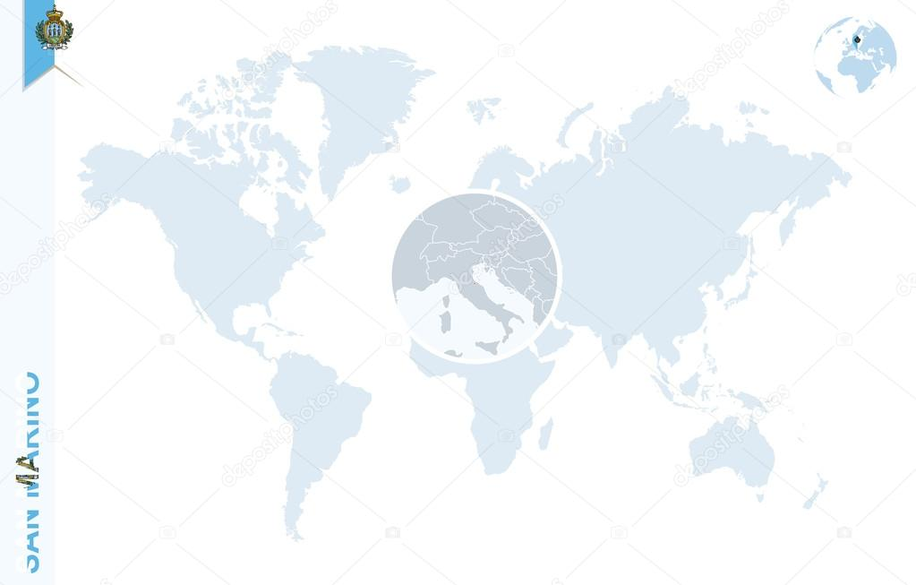 Blue World Map With Magnifying On San Marino Stock Vector - San marino map download