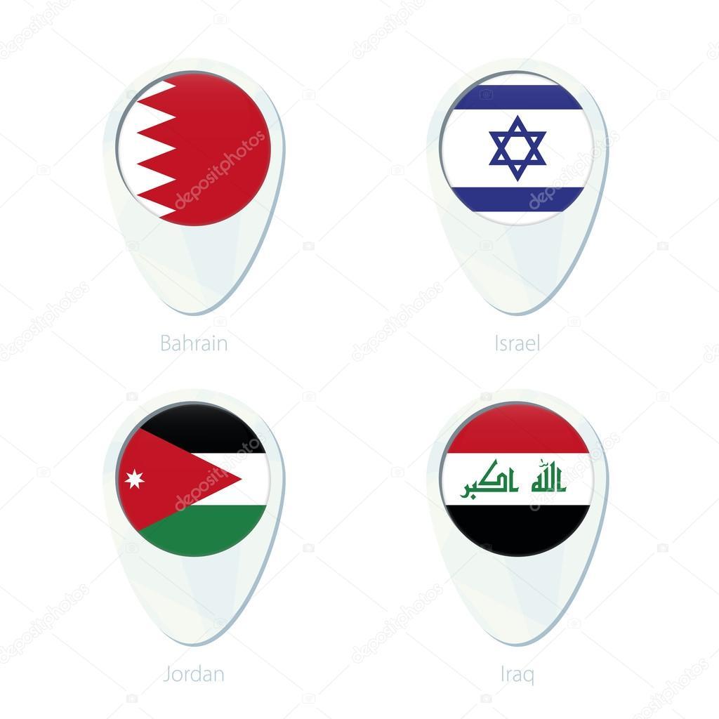 Bahrain israel jordan iraq flag location map pin icon stock bahrain israel jordan iraq flag location map pin icon bahrain flag israel flag jordan flag iraq flag vector illustration vector by boldg sciox Gallery