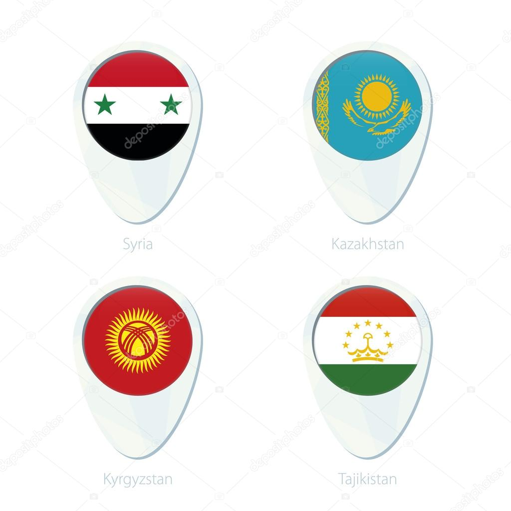 Syria Kazakhstan Kyrgyzstan Tajikistan flag location map pin icon