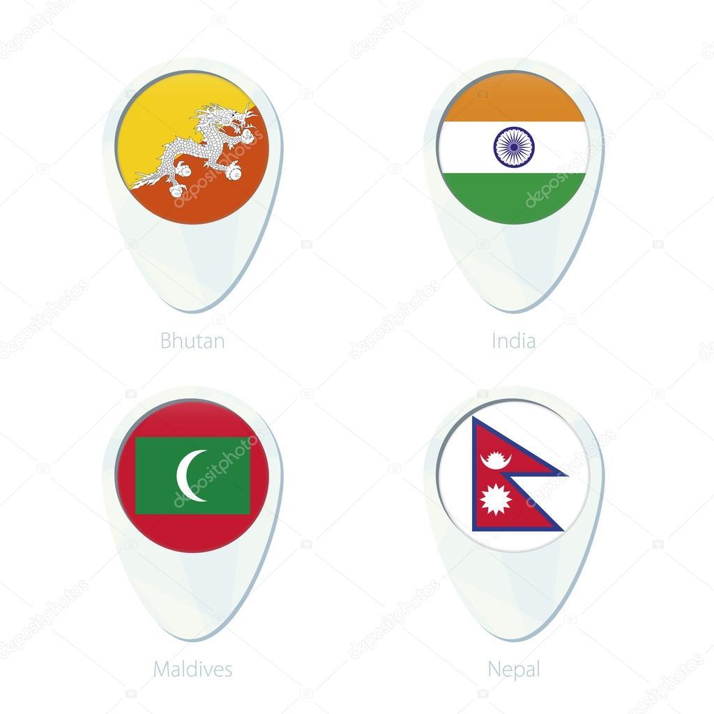 Bhutan India Maldives Nepal Flag Location Map Pin Icon