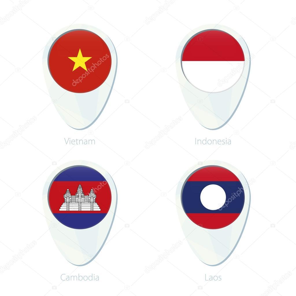 Vietnam Indonesia Cambodia Laos Flag Location Map Pin Icon - Laos map vector