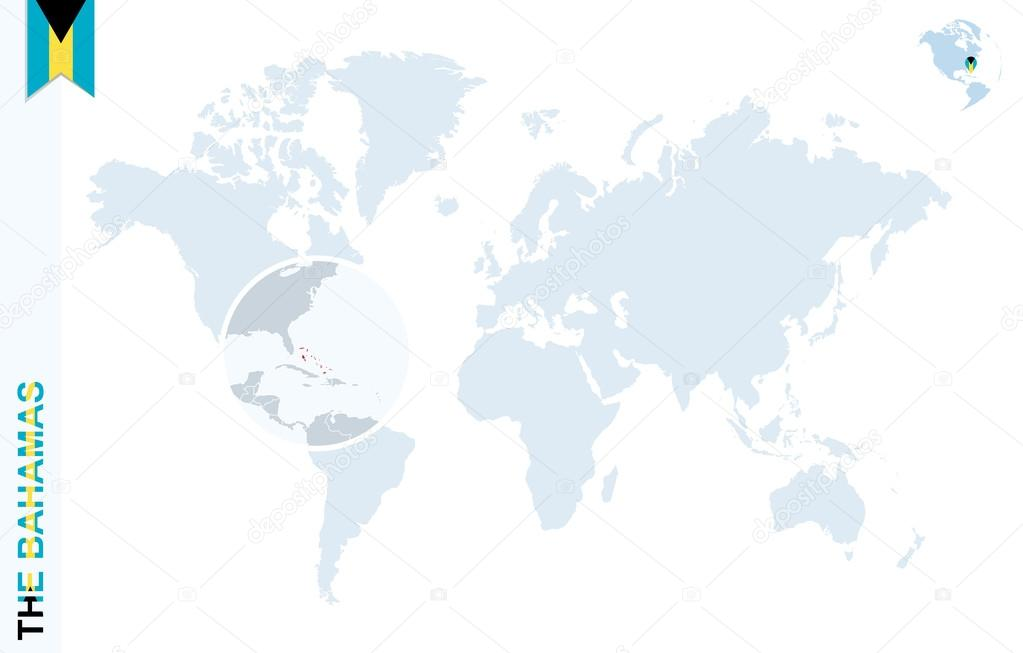 Blue World Map With Magnifying On The Bahamas Stock Vector