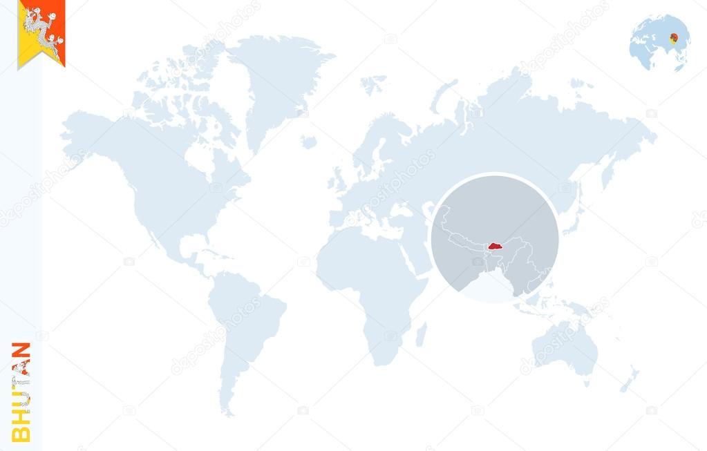 World Map Bhutan.Blue World Map With Magnifying On Bhutan Stock Vector C Boldg