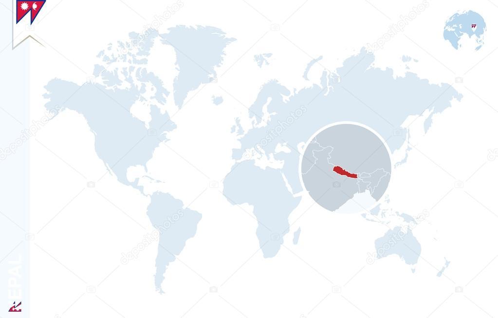 Blaue Weltkarte mit Vergrößerungsglas auf Nepal ...