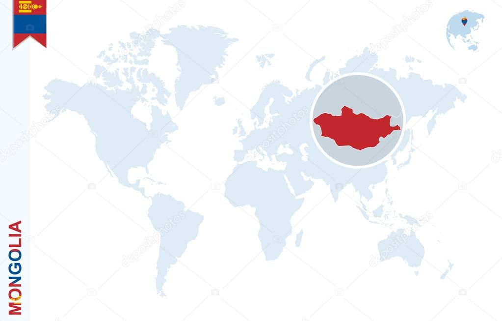 Blue world map with magnifying on mongolia stock vector boldg blue world map with magnifying on mongolia stock vector gumiabroncs Images