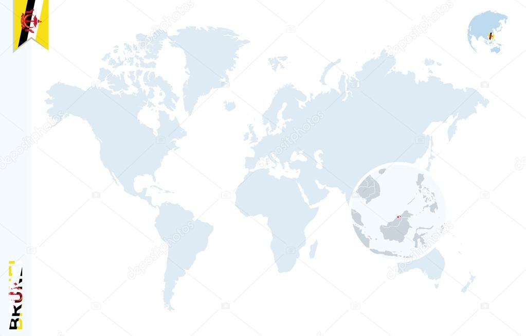 Blue World Map With Magnifying On Brunei Stock Vector C Boldg