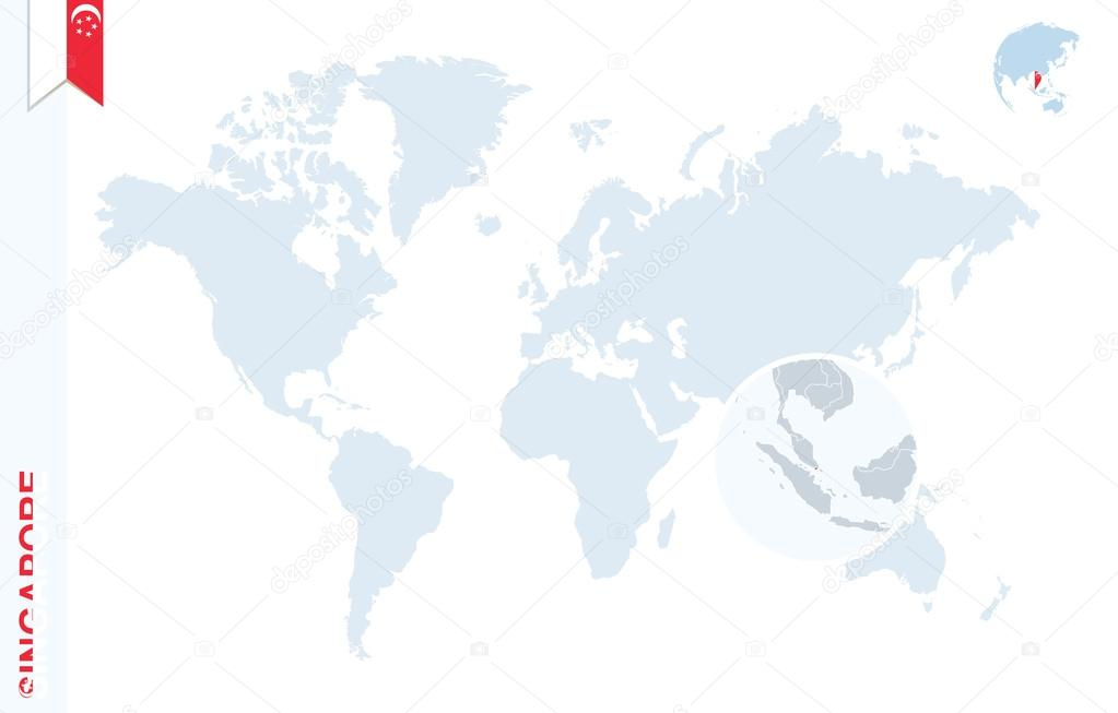 Blue World Map With Magnifying On Singapore Stock Vector C Boldg
