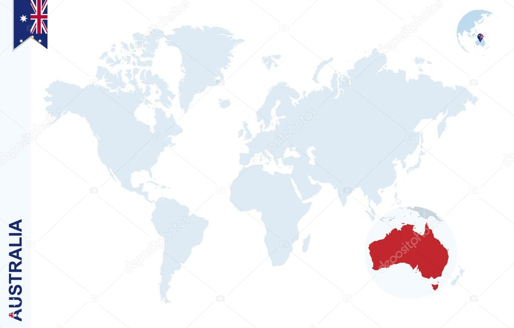 Blue world map with magnifying on australia stock vector boldg world map with magnifying on australia blue earth globe with australia flag pin zoom on australia map vector illustration vector by boldg gumiabroncs Images