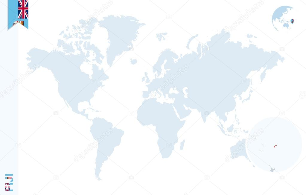 Blue World Map With Magnifying On Fiji Stock Vector C Boldg