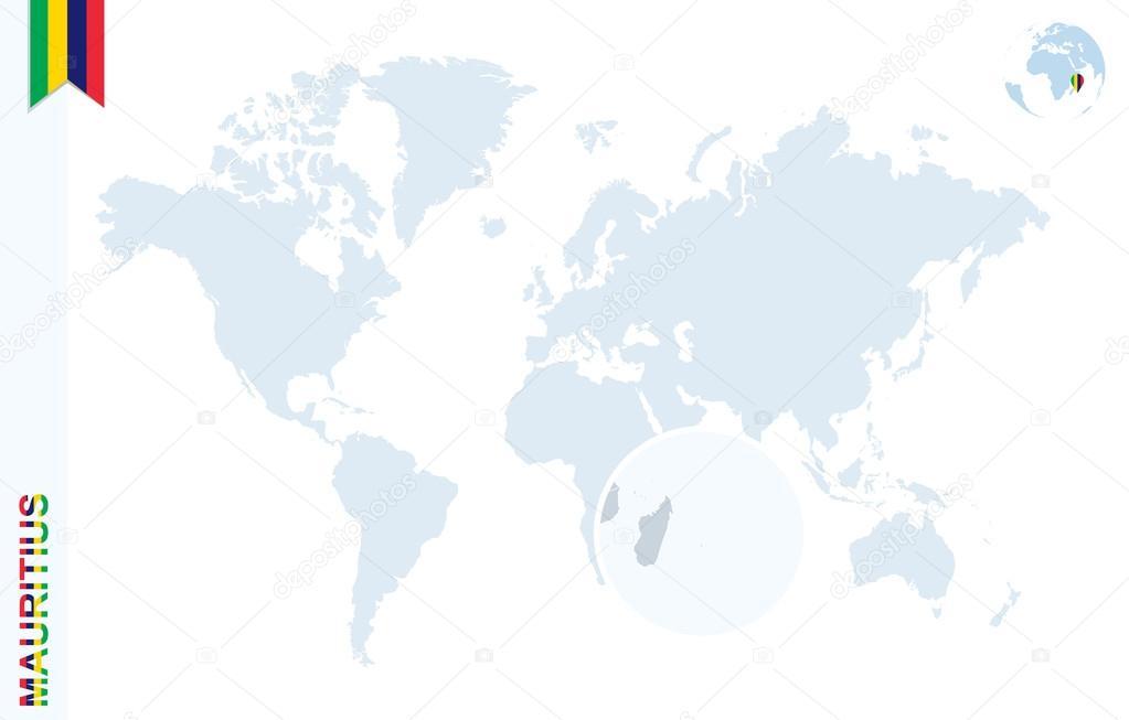 Blaue Weltkarte mit Vergrößerungsglas auf Mauritius — Stockvektor ...
