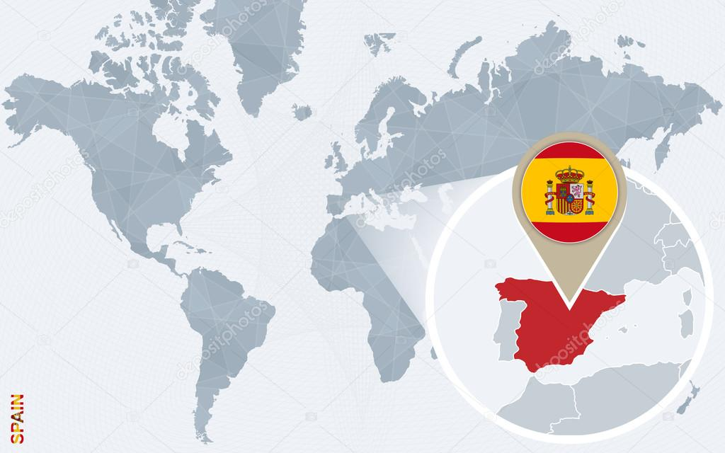 Abstract Blue World Map With Magnified Spain. Spain Flag And Map. Vector  Illustration. U2014 Vector By Boldg