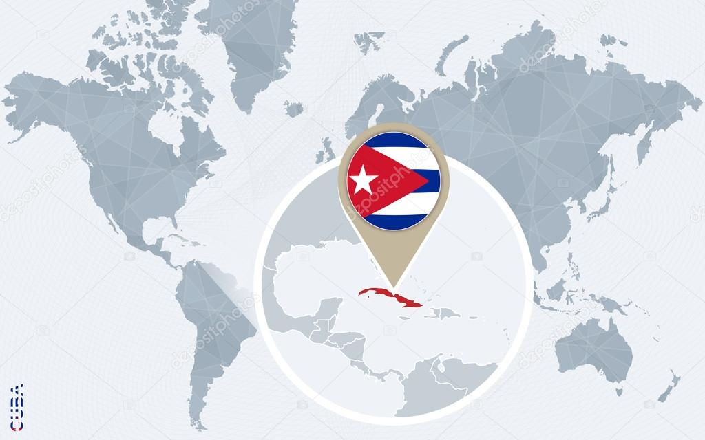 Carte du monde bleu abstrait avec Cuba agrandie — Image vectorielle boldg © #118886234