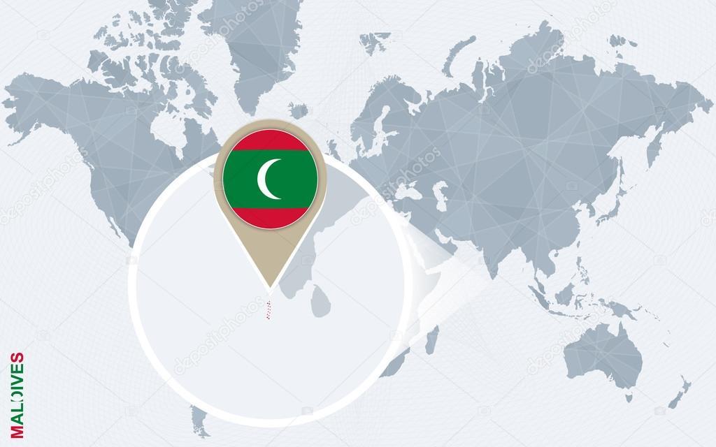 Malediven Karte Weltkarte.Abstrakte Blaue Weltkarte Mit Vergrößerten Malediven Stockvektor