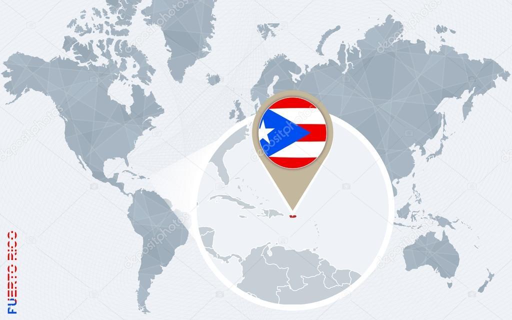 Abstrakte blaue Weltkarte mit vergrößerten Puerto Rico ...