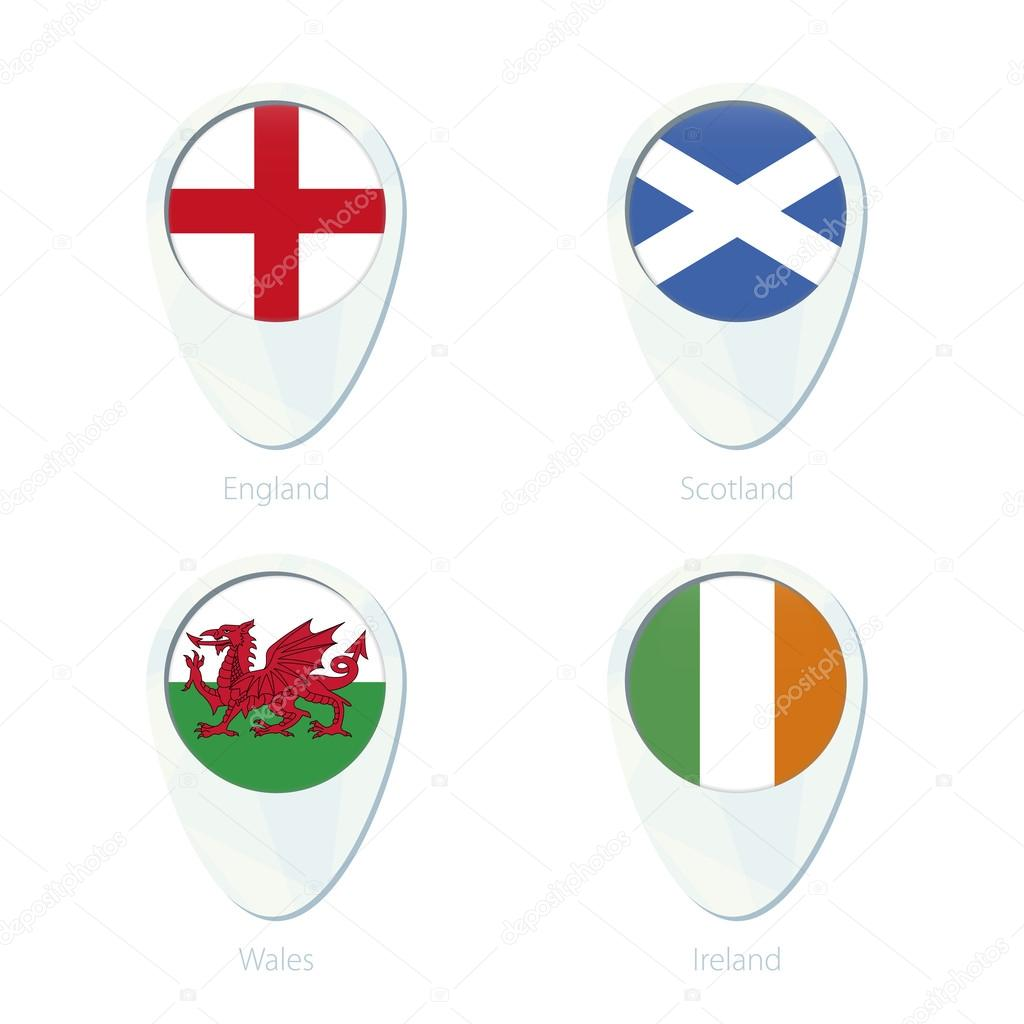 England Scotland Wales Ireland flag location map pin icon