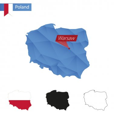 Poland blue Low Poly map with capital Warsaw.