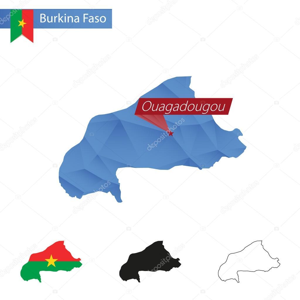 Burkina Faso blue Low Poly map with capital Ouagadougou Stock