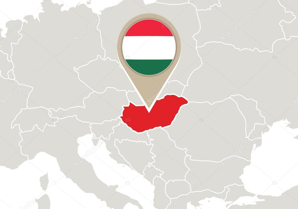 Hungary On Europe Map Stock Vector C Boldg 56999381
