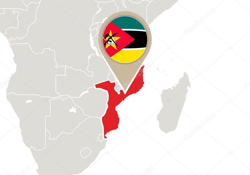 Mozambique mapa mundo vector de stock boldg 58808281 africa with highlighted mozambique map and flag vector de boldg gumiabroncs Images