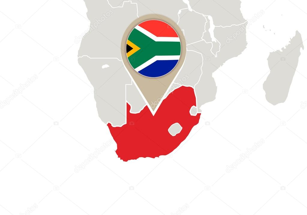Sudfrica en el mapa del mundo archivo imgenes vectoriales africa with highlighted south africa map and flag vector de boldg gumiabroncs Image collections