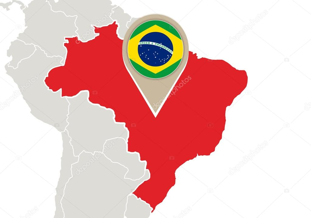 Brasil en mapa mundial vector de stock boldg 58964221 map with highlighted brazil map and flag vector de boldg gumiabroncs Images