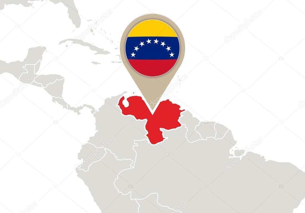 Venezuela on World map — Stock Vector © boldg #58964323