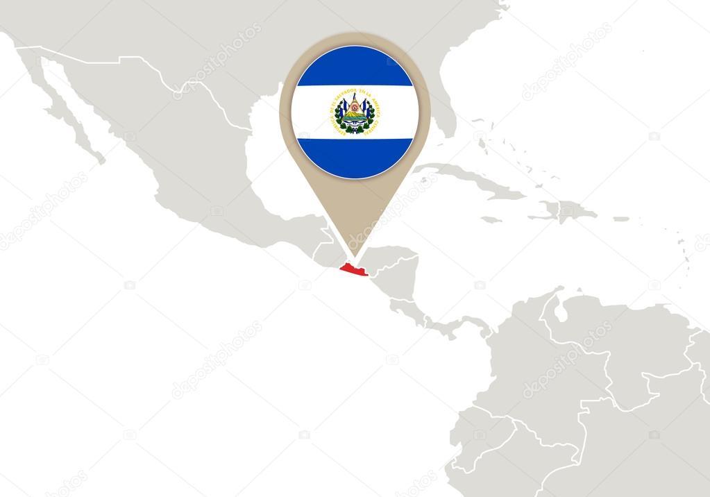 El Salvador on World map Stock Vector boldg 59200111