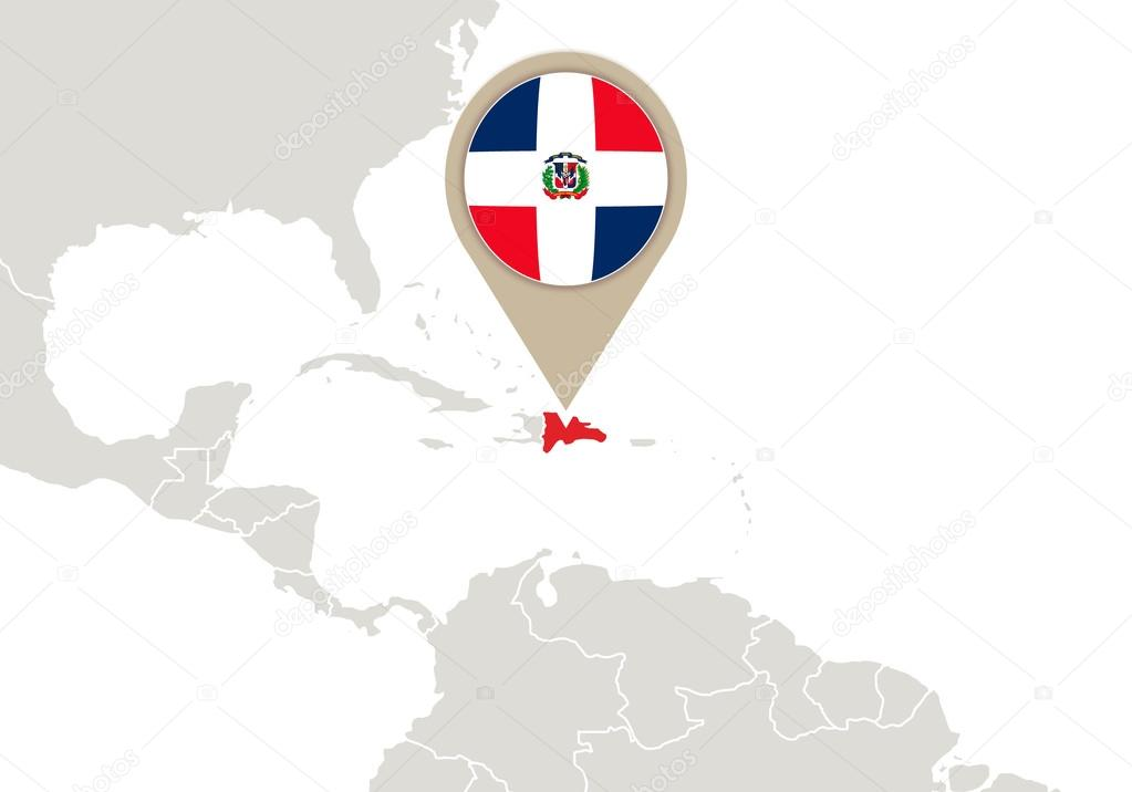 Dominican Republic on World map — Stock Vector © boldg #59340891