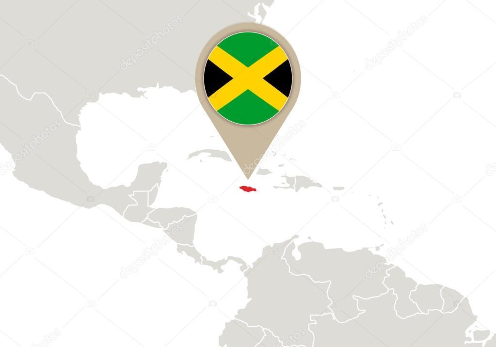Jamaica on world map stock vector boldg 59341001 jamaica on world map stock vector gumiabroncs Images