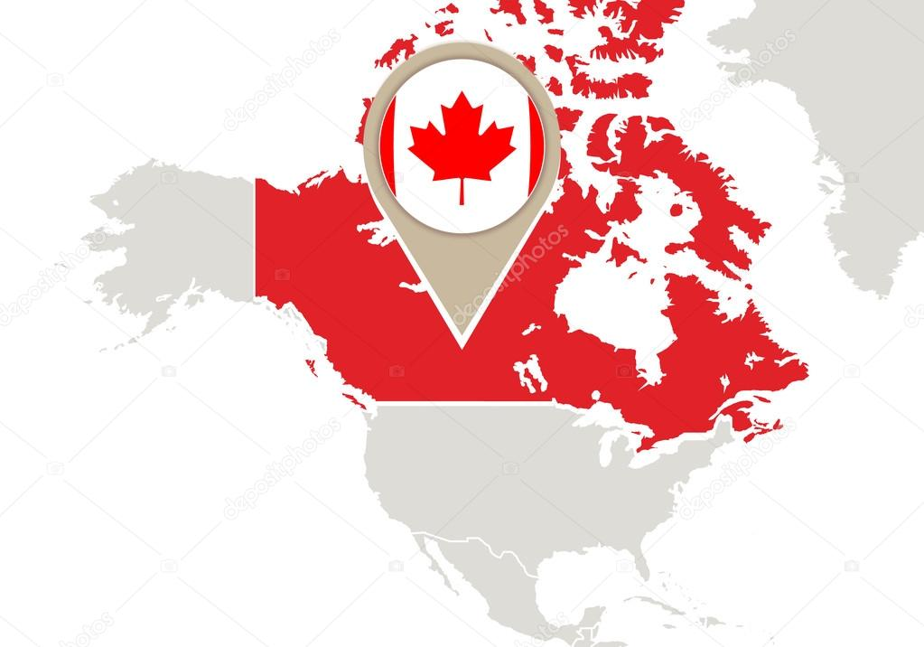 Canada On World Map Stock Vector Boldg - Canada map with flag