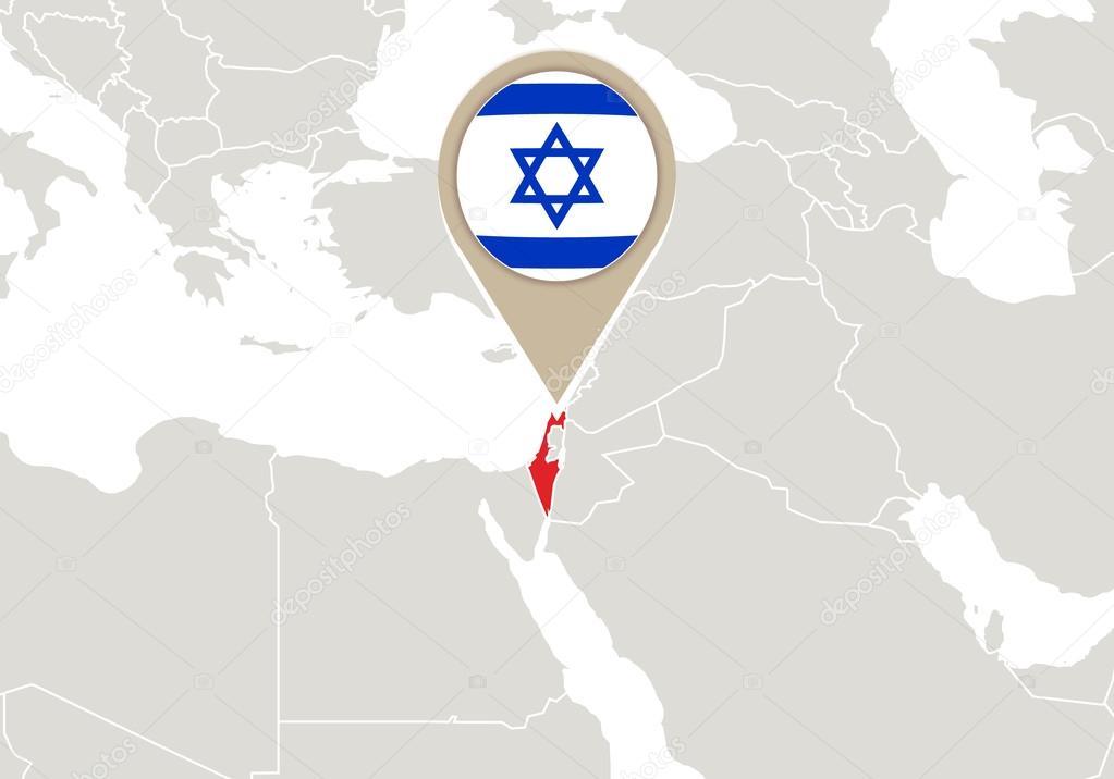 Israel on World map — Stock Vector © boldg #59385631