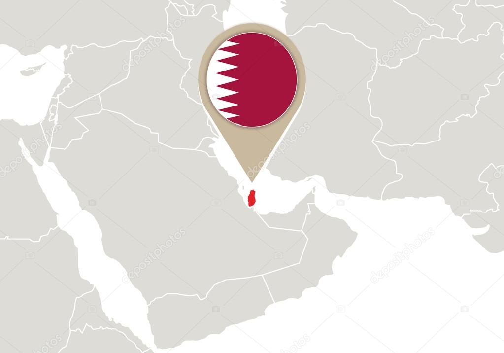 Qatar On World Map Stock Vector C Boldg 59385639