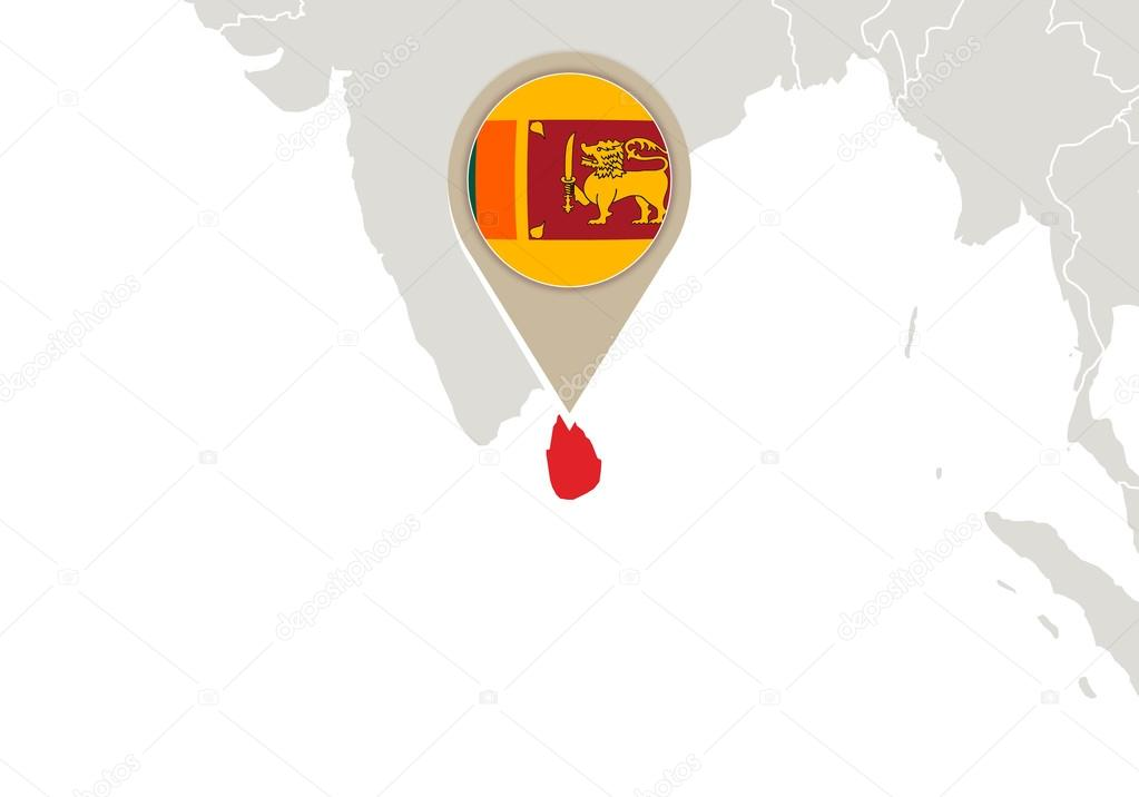 Sri Lanka On World Map Stock Vector C Boldg 59385985