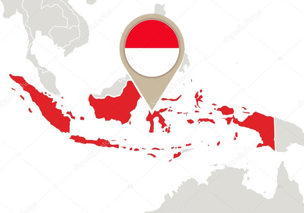 Indonesia on World map — Stock Vector © boldg #59449721