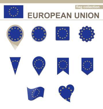 European Union Flag Collection, 12 versions stock vector