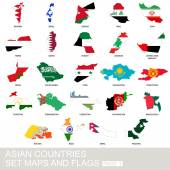 Fotografie Asian countries set, maps and flags