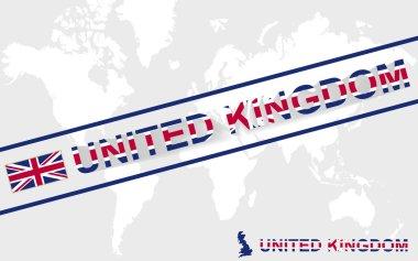United Kingdom map flag and text illustration