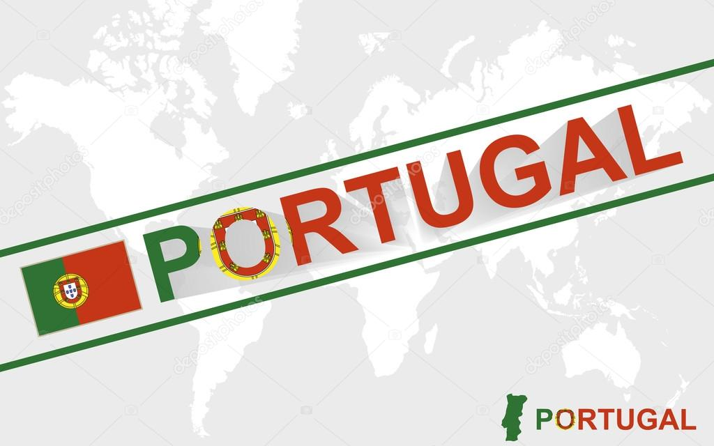Portugal Map Flag And Text Illustration Stock Vector Boldg - Portugal map flag